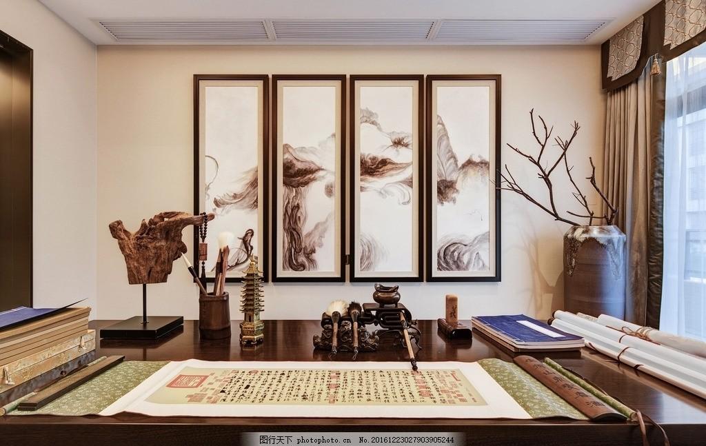 新中式茶室 书房 新中式效果图 大厅 不锈钢边框 原木家具 硬包背景