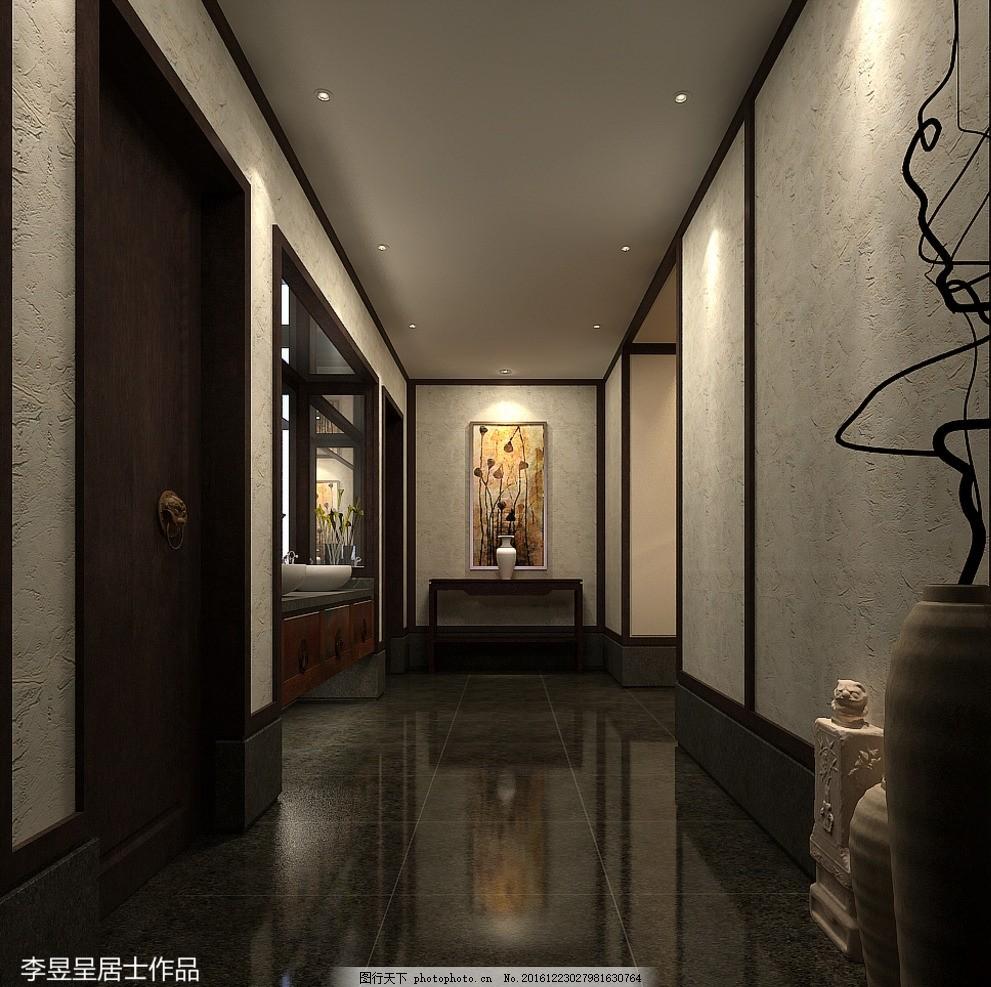 新中式效果图 室内设计 酒店大堂 酒店设计 酒店大厅 大厅 不锈钢边框图片