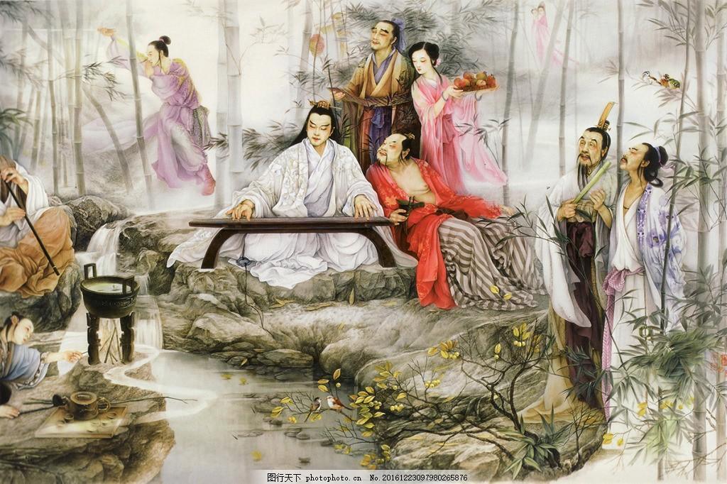 手绘中国古代人物背景墙 高清大图 空间建筑 装饰设计 风景 高分辨率