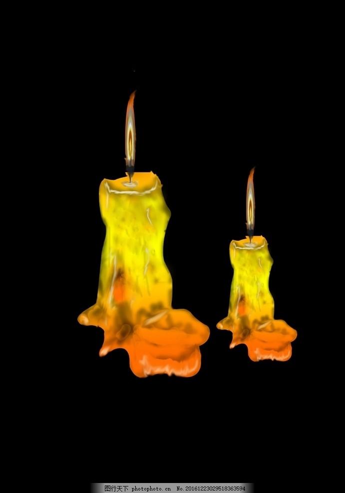 蜡烛水彩立体简笔画