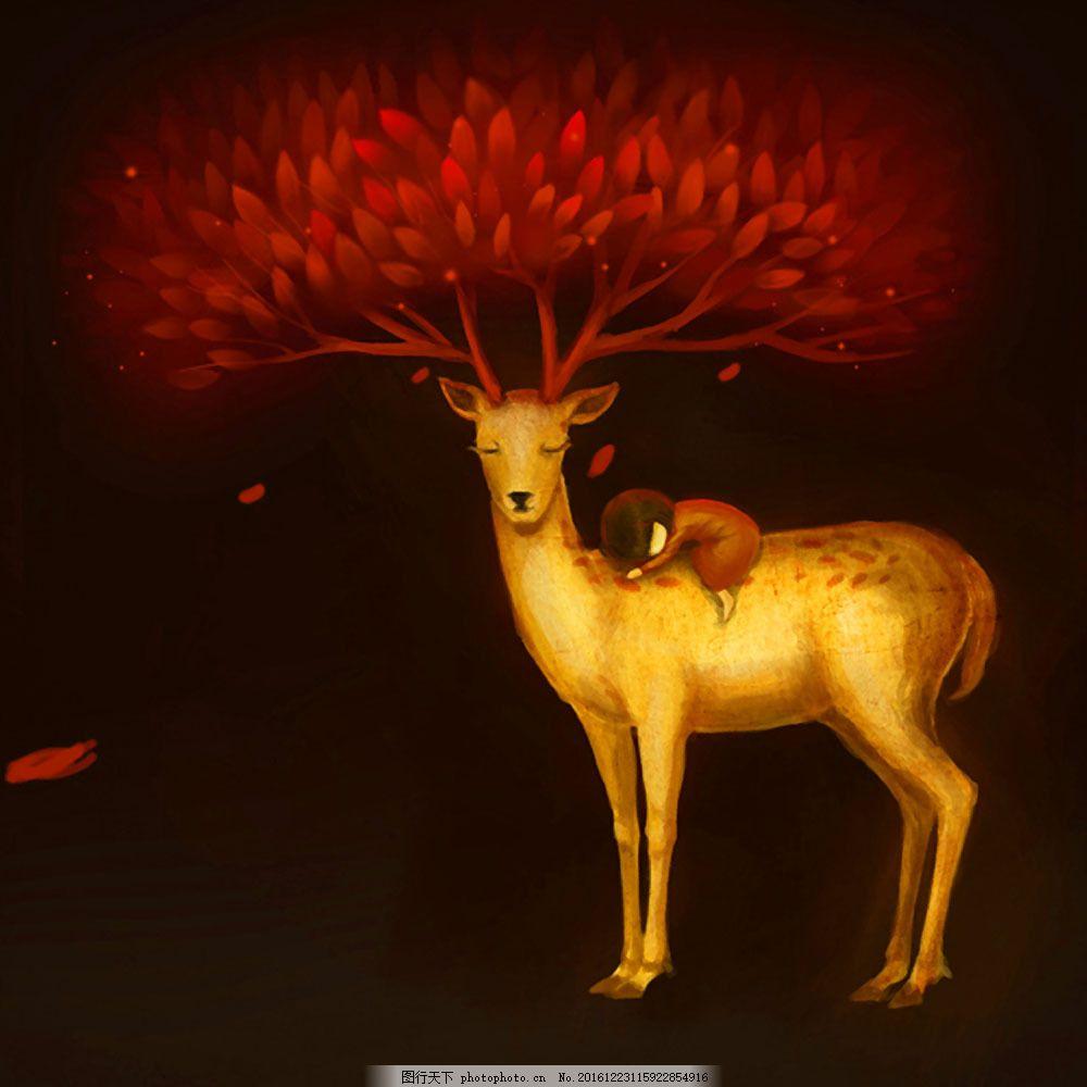 油画麋鹿图片