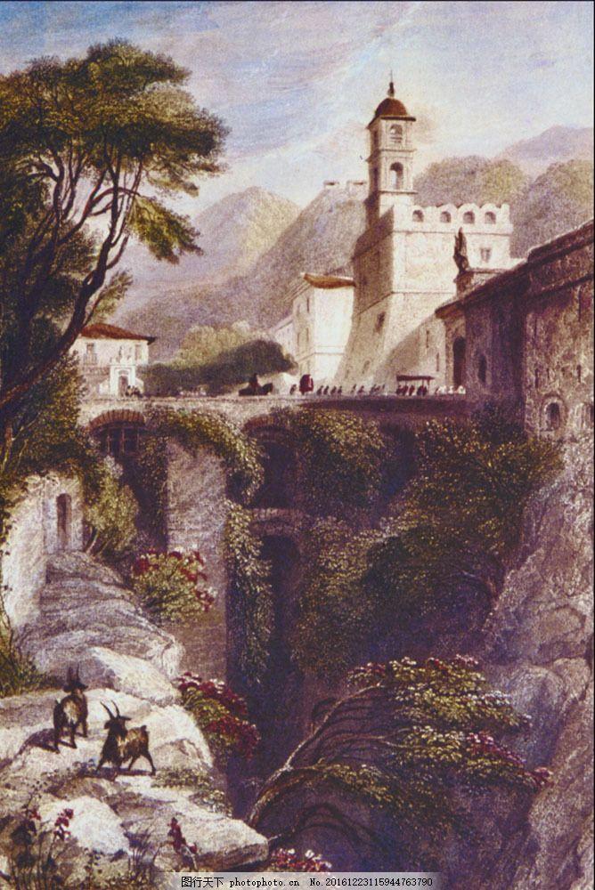 古堡风景油画图片素材 油画 绘画艺术 油画写生 油画风景写生 风景