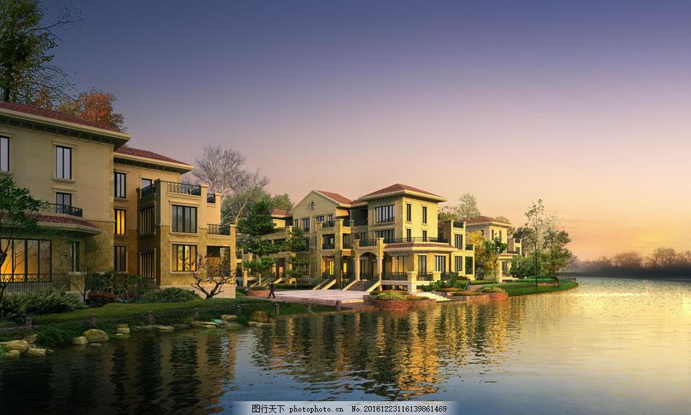 别墅小区园林景观效果图片