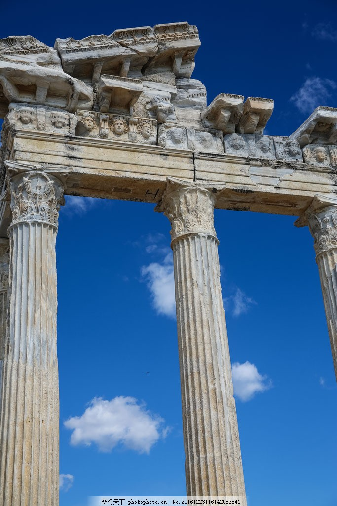 科斯林柱式 科斯林柱式图片素材 蓝天 白云 柱子 罗马柱 建筑风景