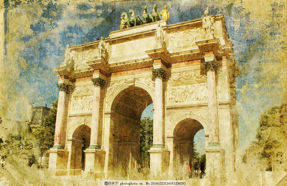 巴黎风景图片素材 巴黎 著名建筑 文明古迹 城市风景 复古背景 怀旧
