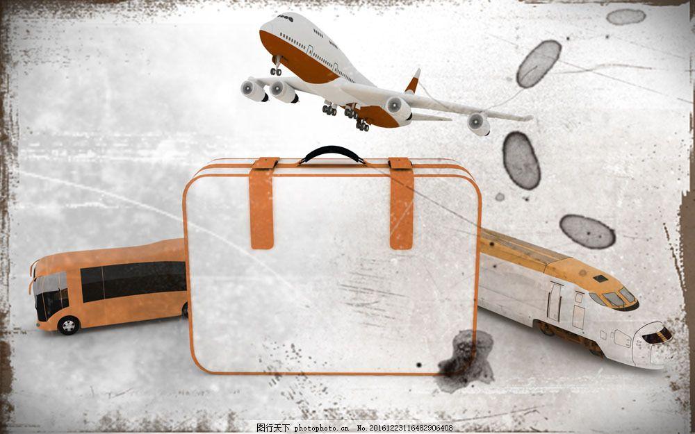 行李箱与飞机图片