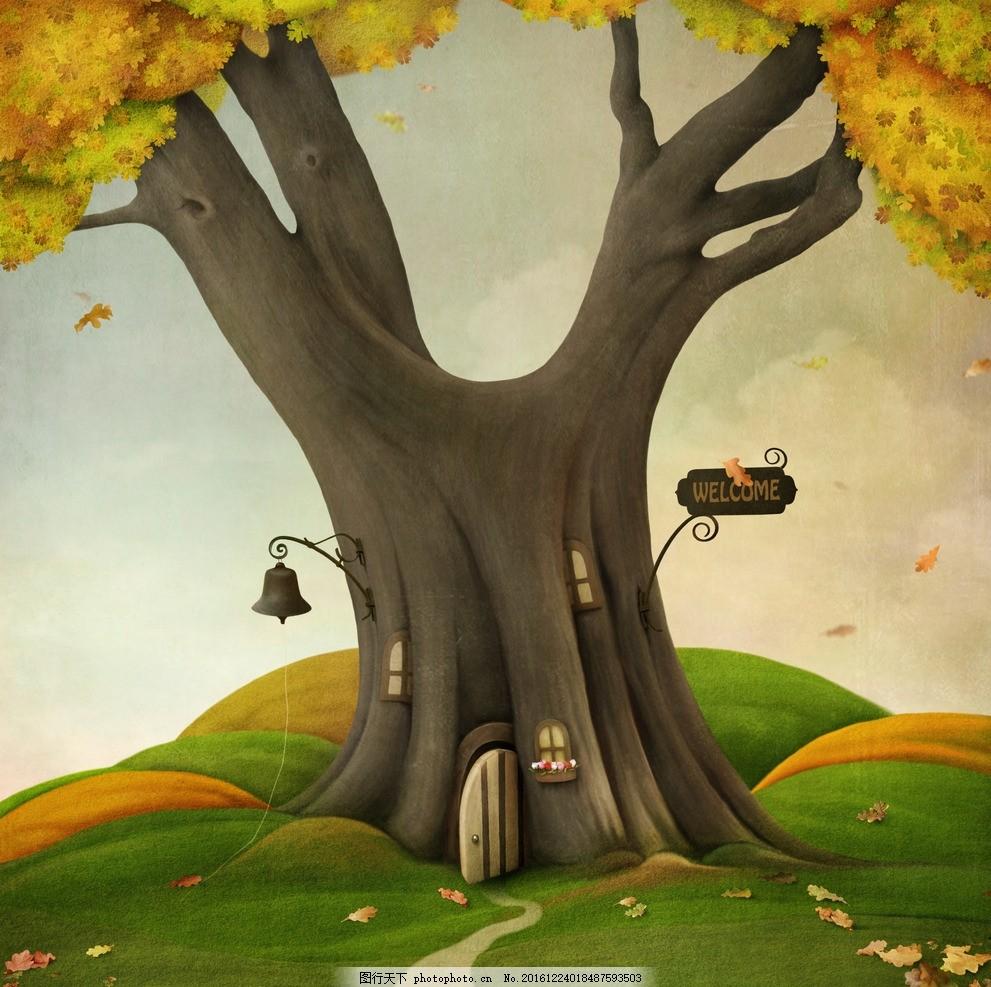 梦幻超现实 树中小屋油画 发财树 秋叶 动漫动画