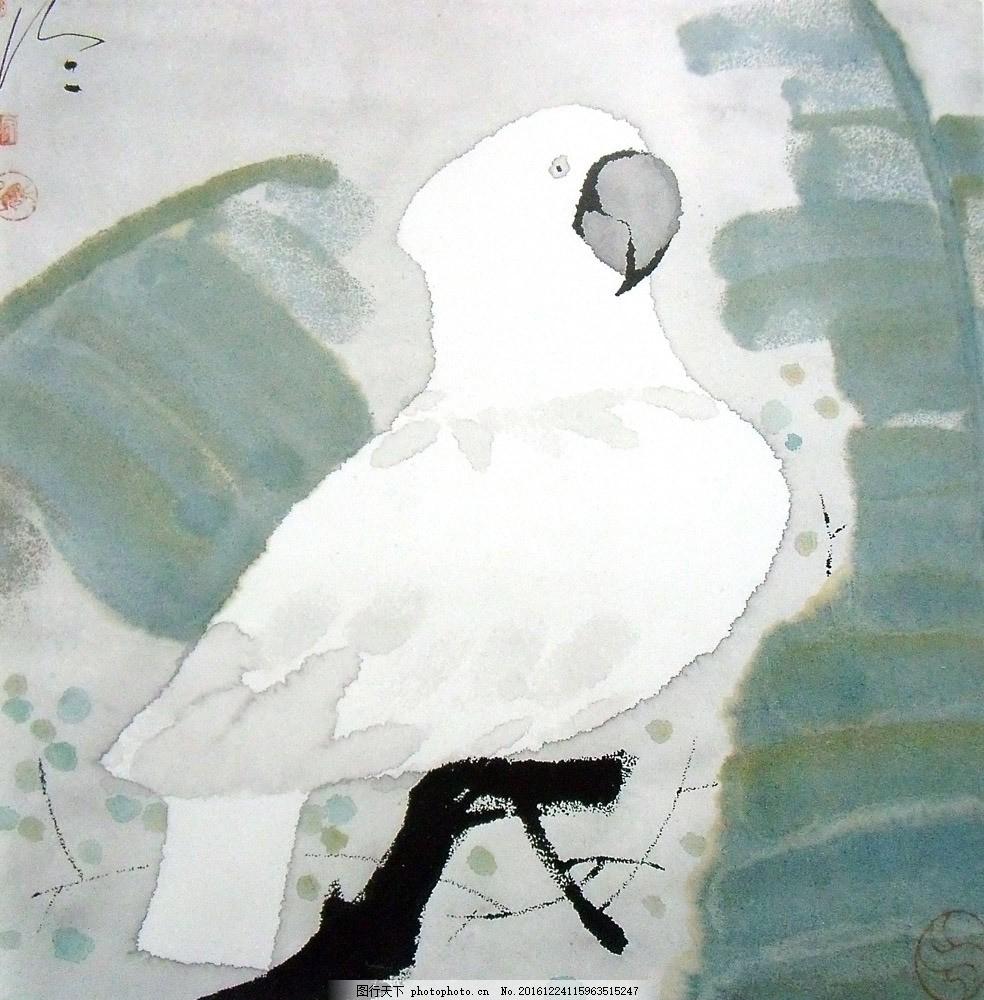 高清手绘鹦鹉 高清手绘鹦鹉图片素材 油画 装饰画 国画 无框画