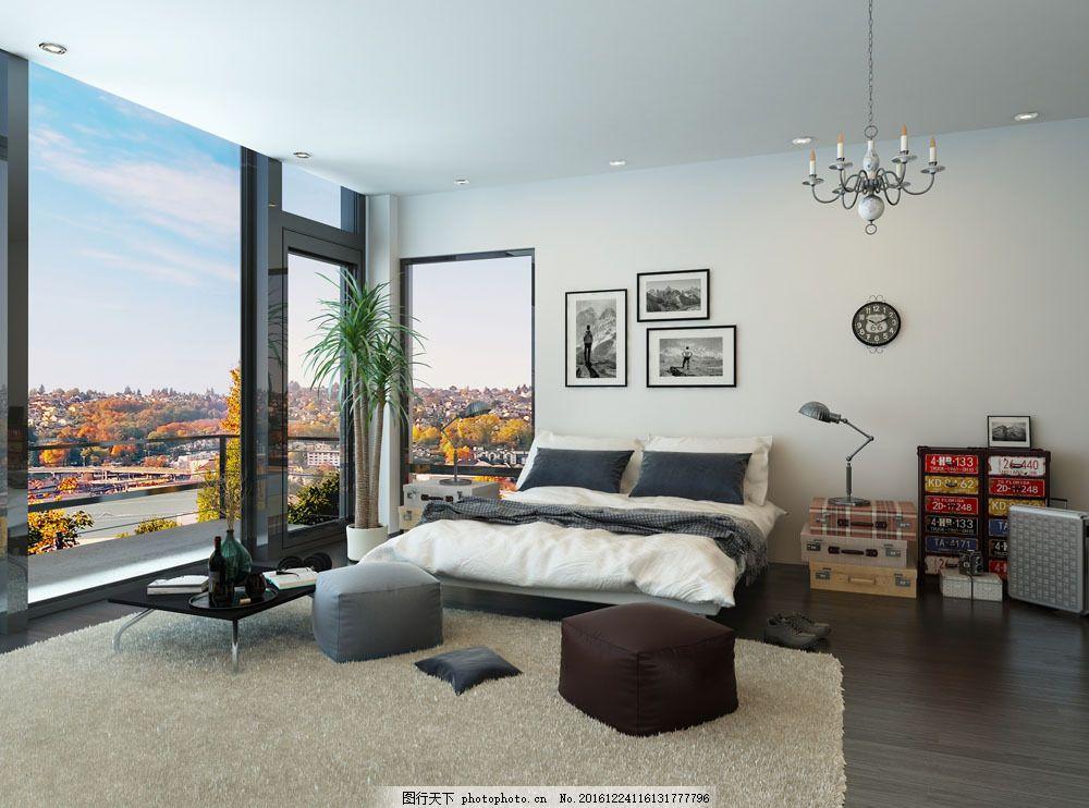 落地窗卧室设计 落地窗卧室设计图片素材 床 地毯 室内设计 环境家居