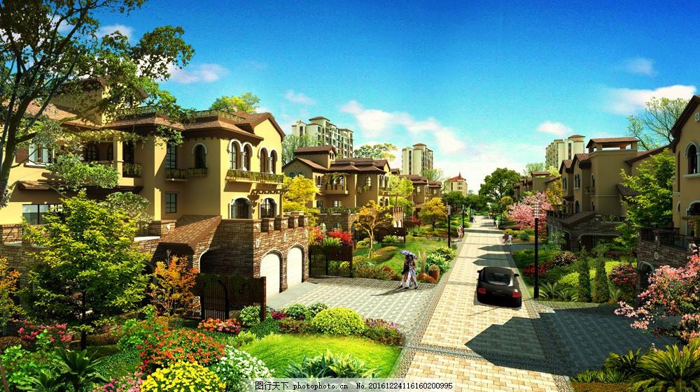 别墅小区道路景观设计 别墅小区道路景观设计图片素材 别墅小区建筑设