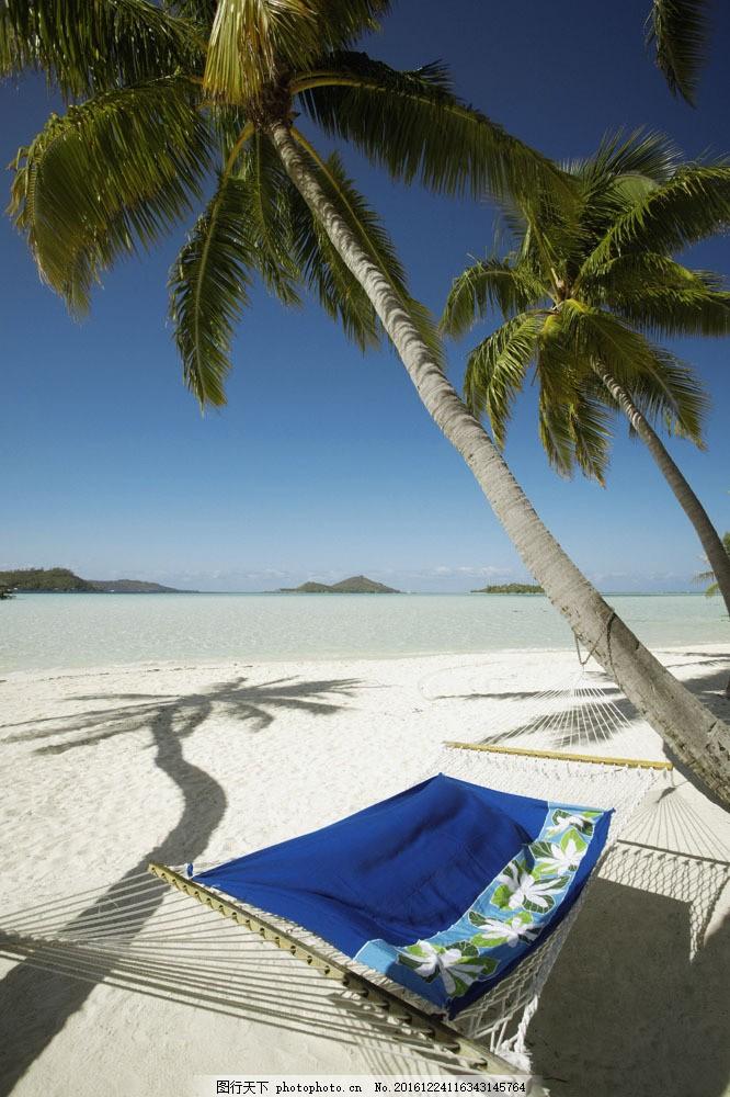 沙滩上的吊床 沙滩上的吊床图片素材 美丽海滩 海边风景 海岸风光