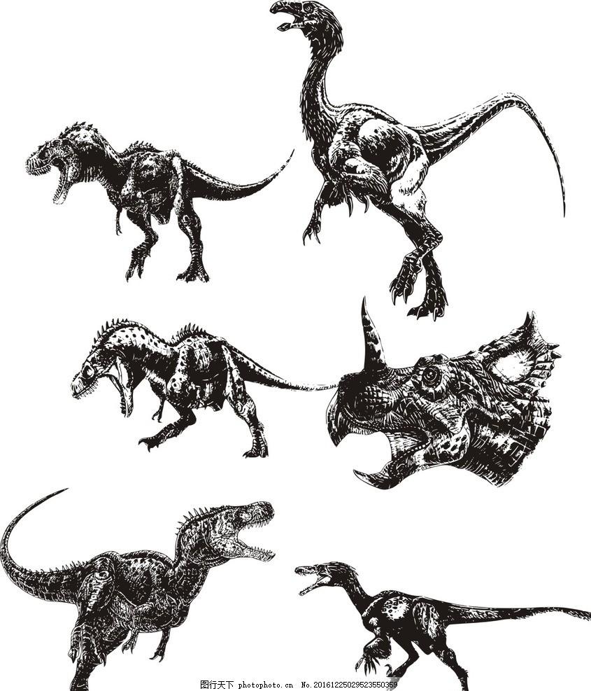 素描 手绘恐龙 素描恐龙 卡通 恐龙 动画 侏罗纪 远古 动漫 线图 动