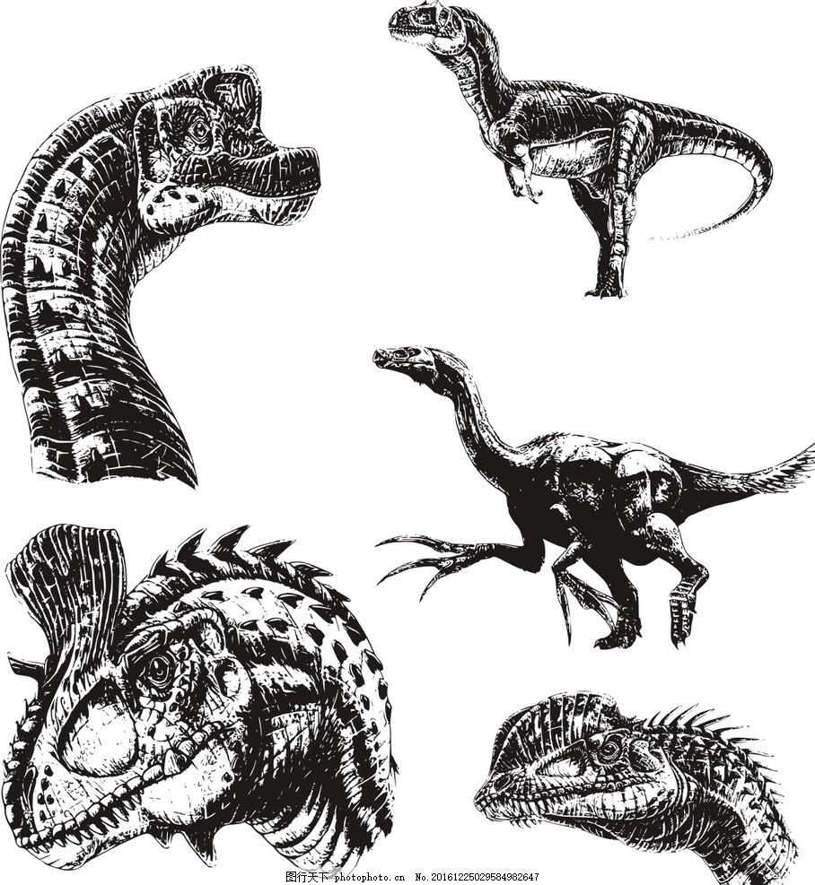 素描 手绘恐龙 素描恐龙 卡通 恐龙 动画 侏罗纪 远古 动漫 线图 动物