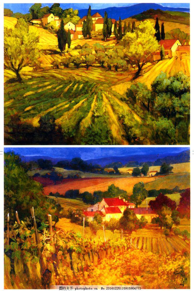 乡村田园油画背景图片素材 油画 插画 装饰画 无框画 场景 手绘 彩绘