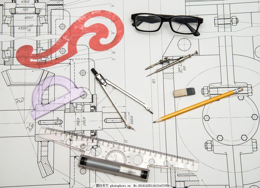 制图工具与建筑图图片