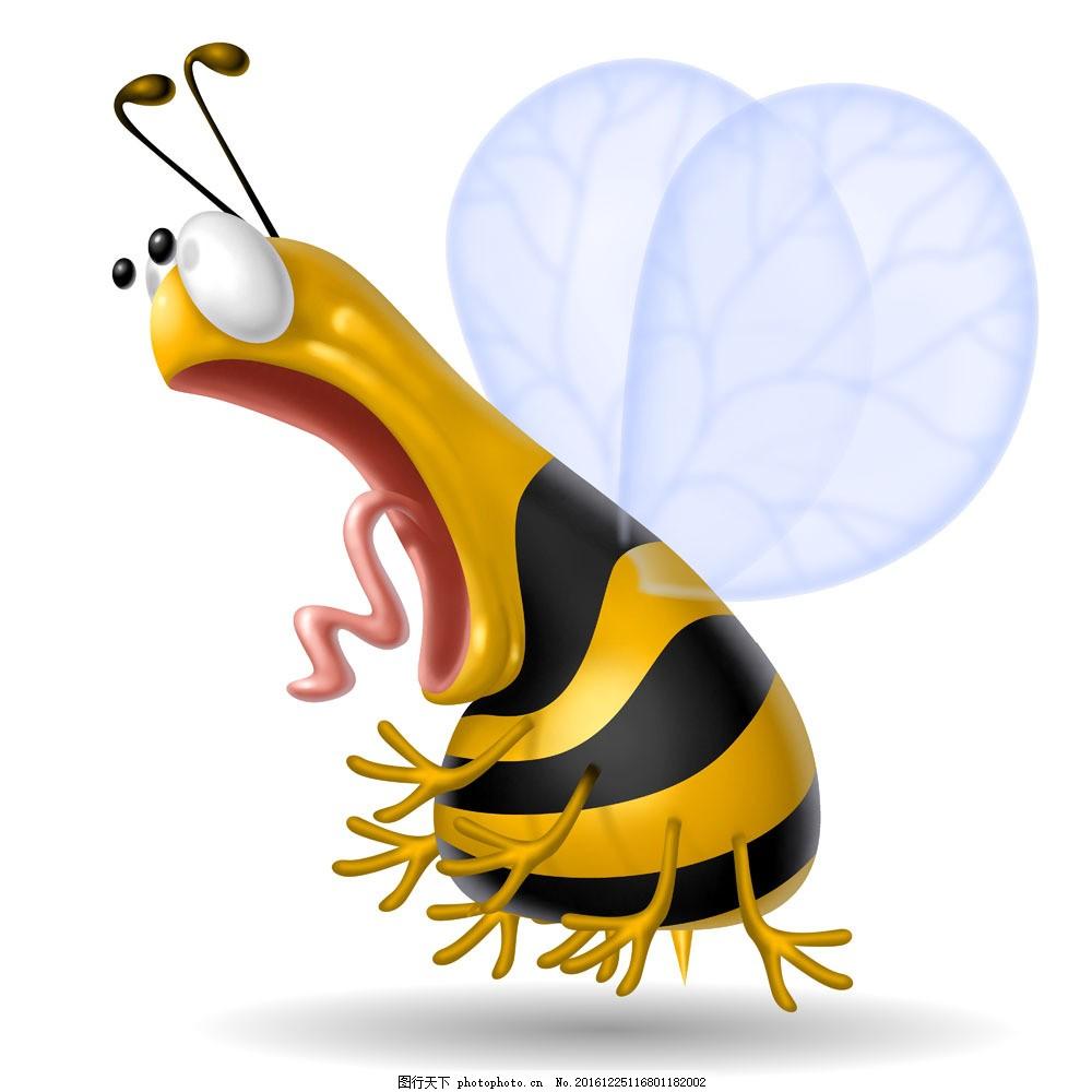可爱的3d蜜蜂图片素材 可爱的3d蜜蜂 蜜蜂 做惊讶表情的动物 3d卡通
