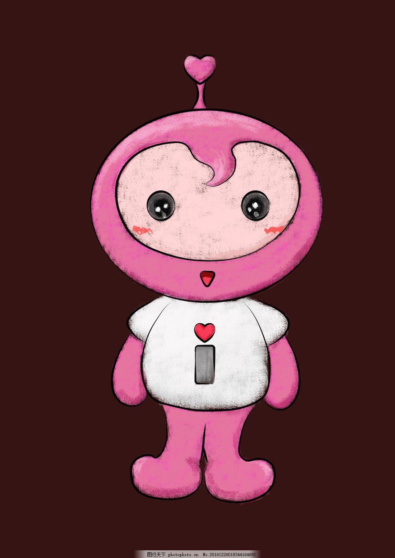 粉色机器人 粉色 机器人 桃心 白色 上衣 小女生 手绘 彩铅 圆脸 可