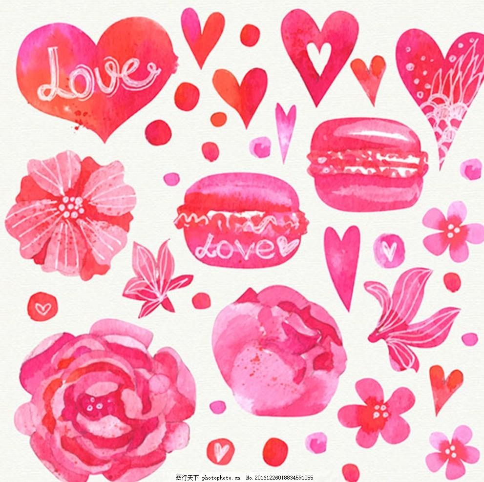 手绘水彩粉红色情人节心和鲜花