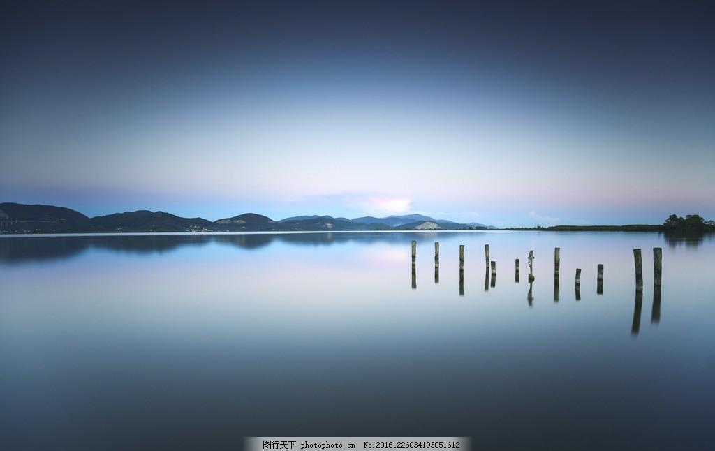 唯美风景高清 夕阳 晚霞 海边 大海 树桩 唯美 摄影 自然景观 自然