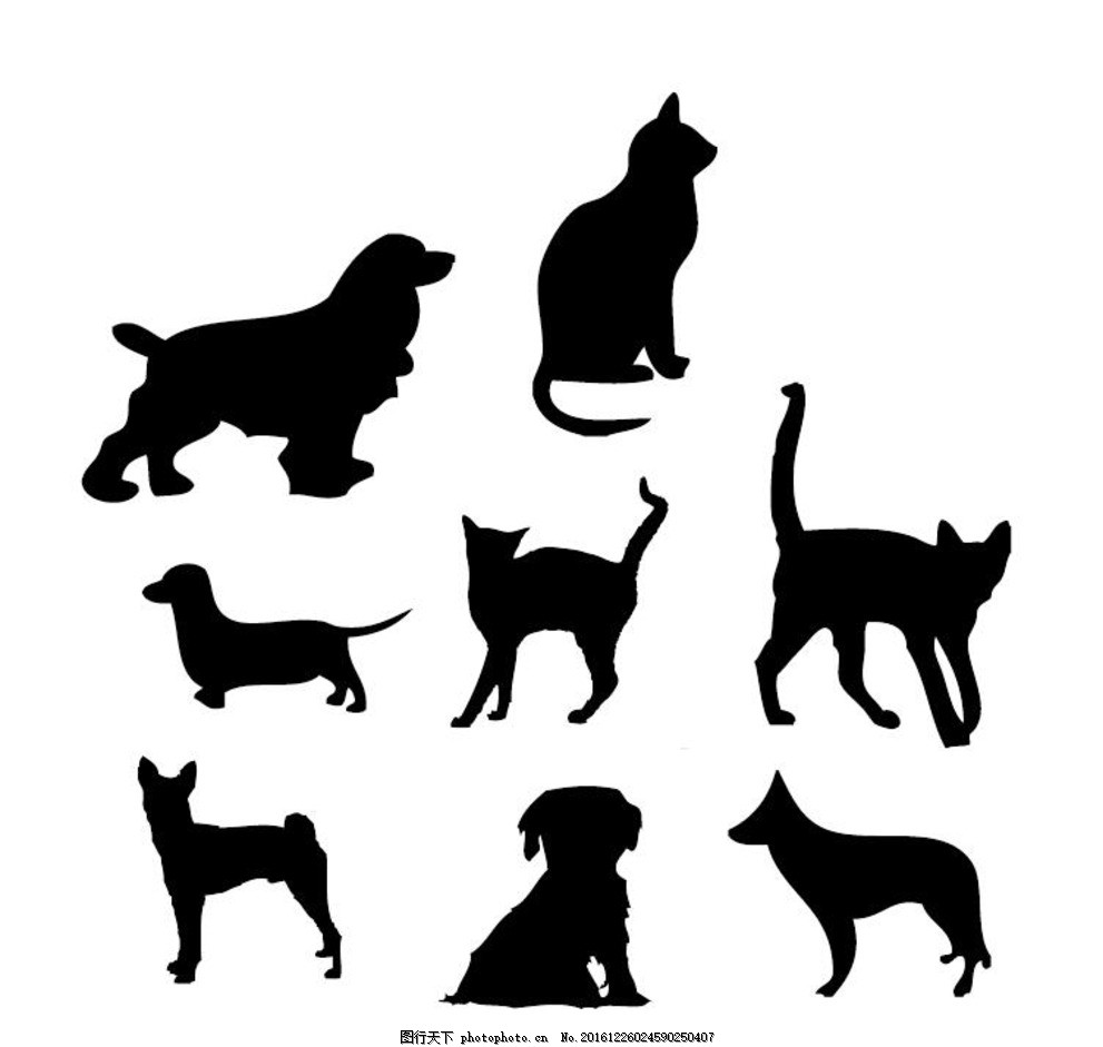 猫狗剪影 狗 宠物 可爱的小狗 猫 爪花纹 猫插画 动物标志 动物 卡通