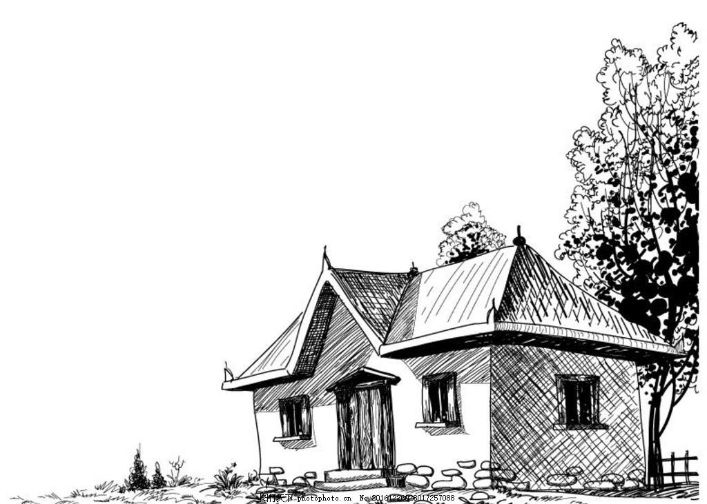 手绘房子矢量图 房子 古建筑 素描 矢量 素描房子 建筑矢量 设计 环境