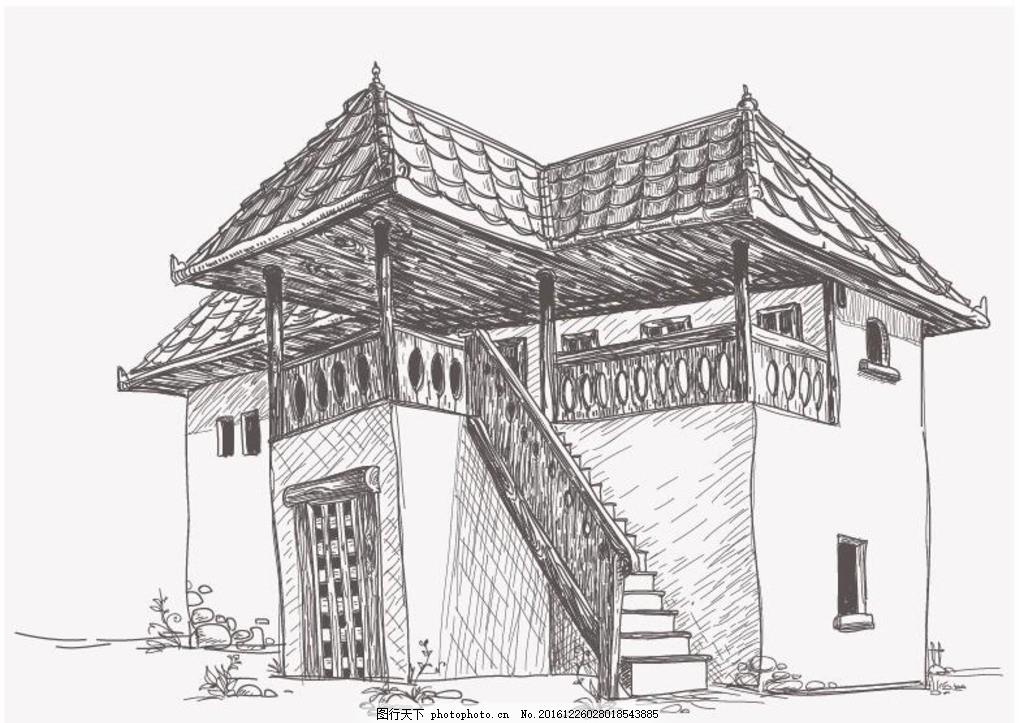 素描房子 房子 城楼 古建筑 素描 矢量 建筑矢量 设计 环境设计 建筑