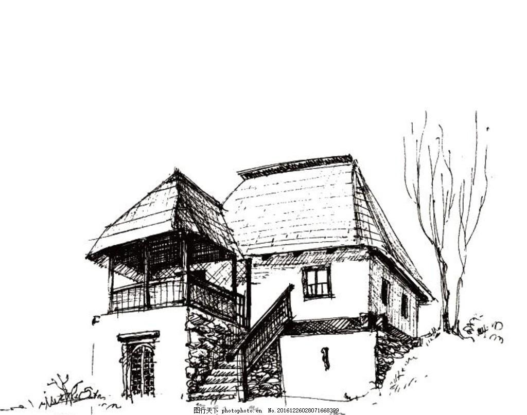 素描房子 城楼 古建筑 矢量 建筑矢量