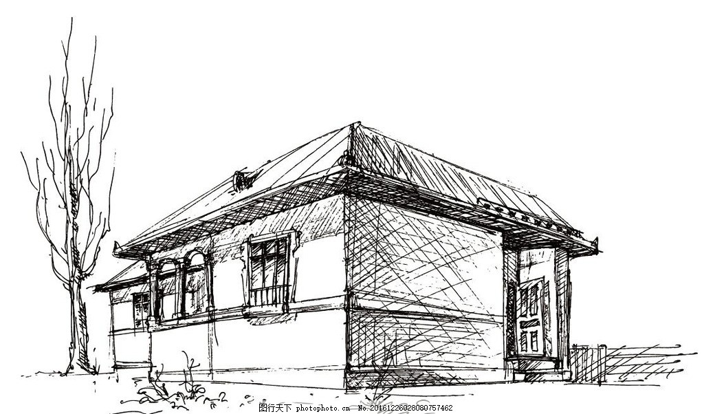 手绘房子矢量图 古建筑 素描 素描房子 建筑矢量
