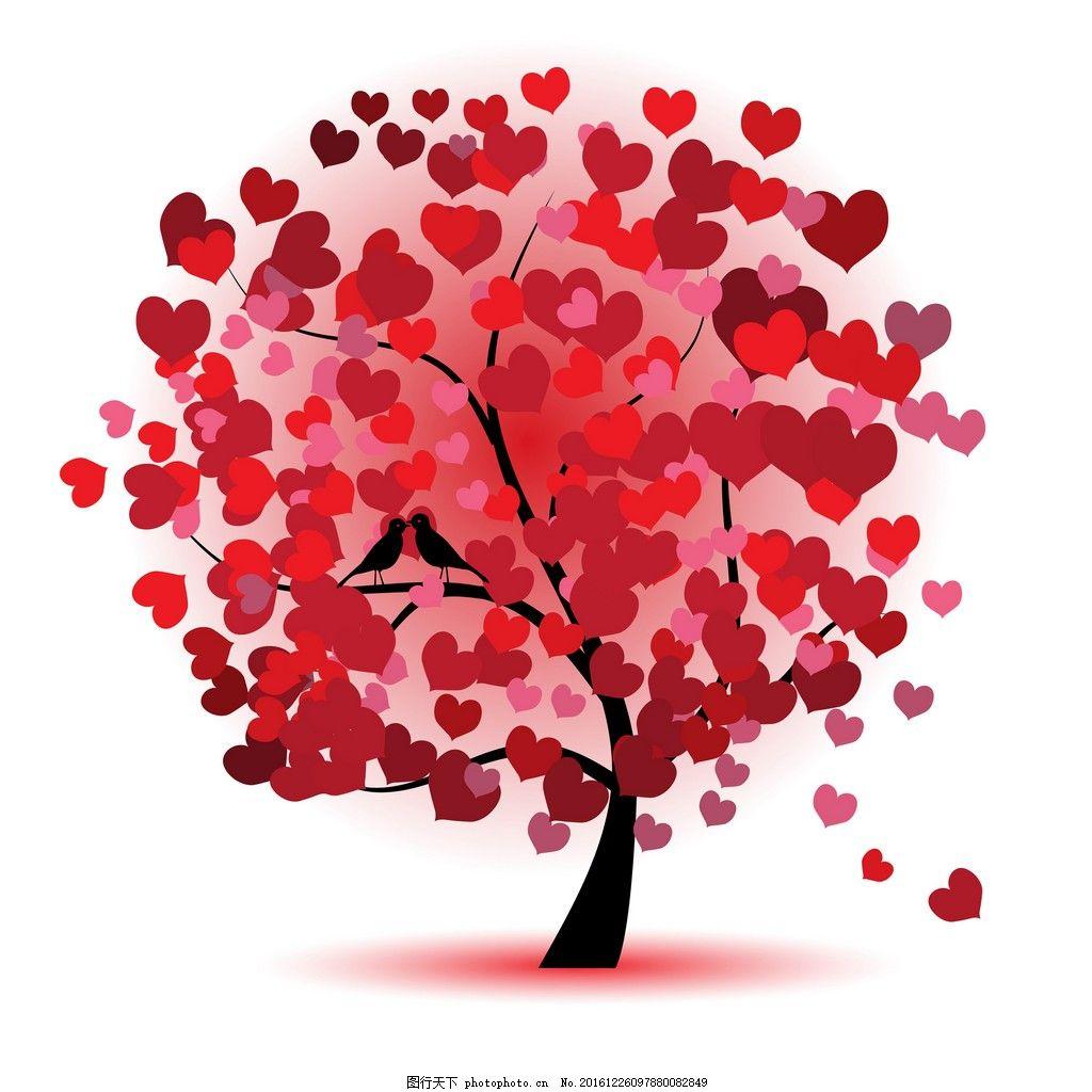 爱心树装饰画 背景素材 壁画 插画 抽象 抽象花 抽象画 无框画素材