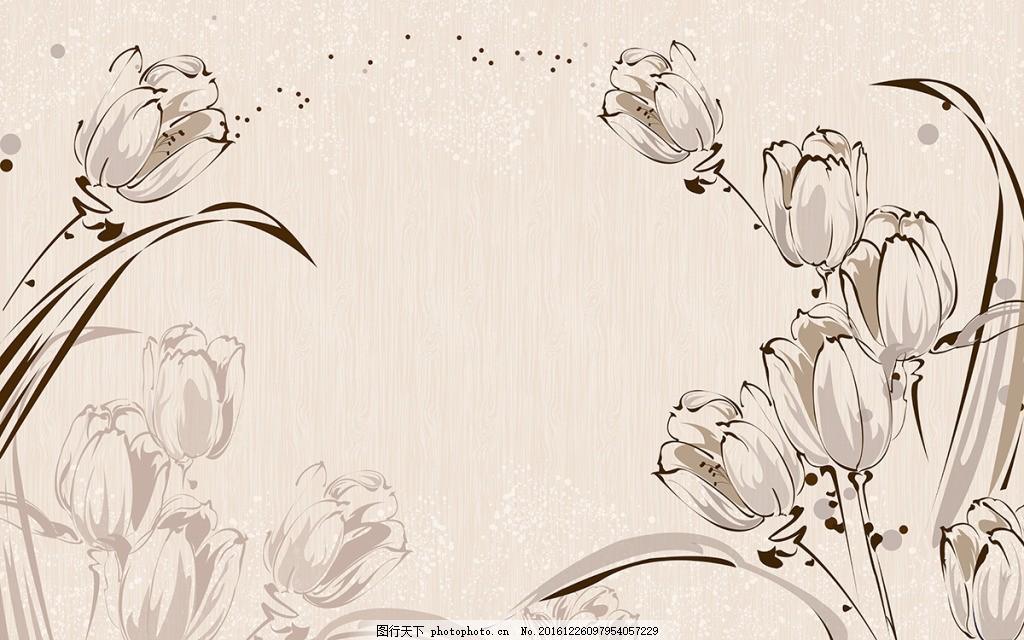 手绘郁金香背景墙