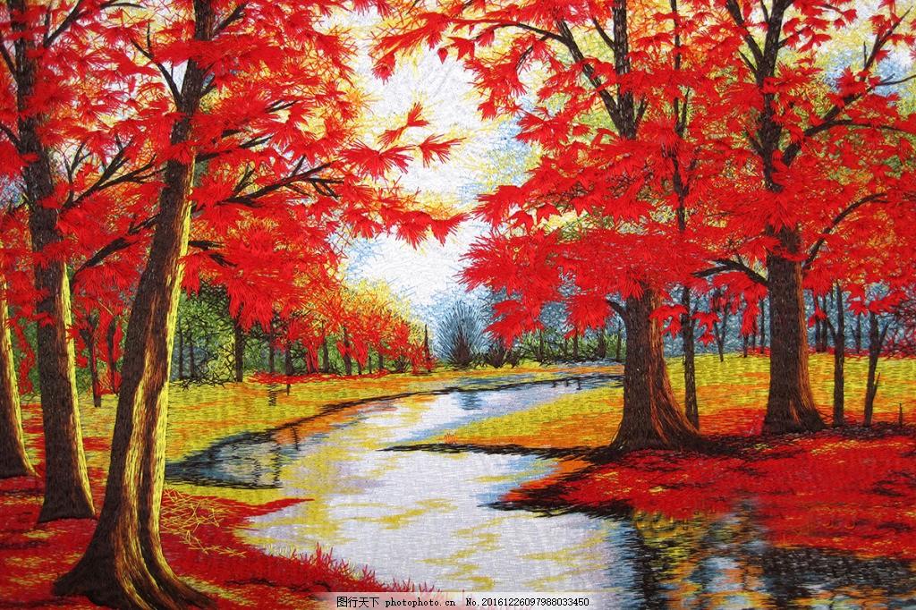红色枫叶林装饰背景墙 壁纸 风景 高分辨率图片 高清大图 建筑