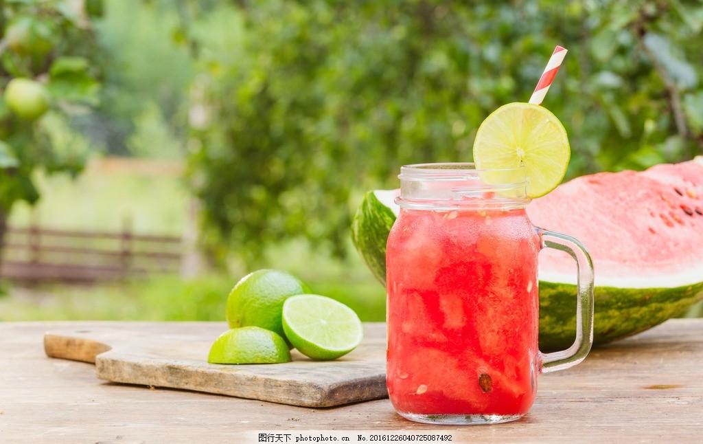 夏日小清新西瓜汁柠檬高清摄影图