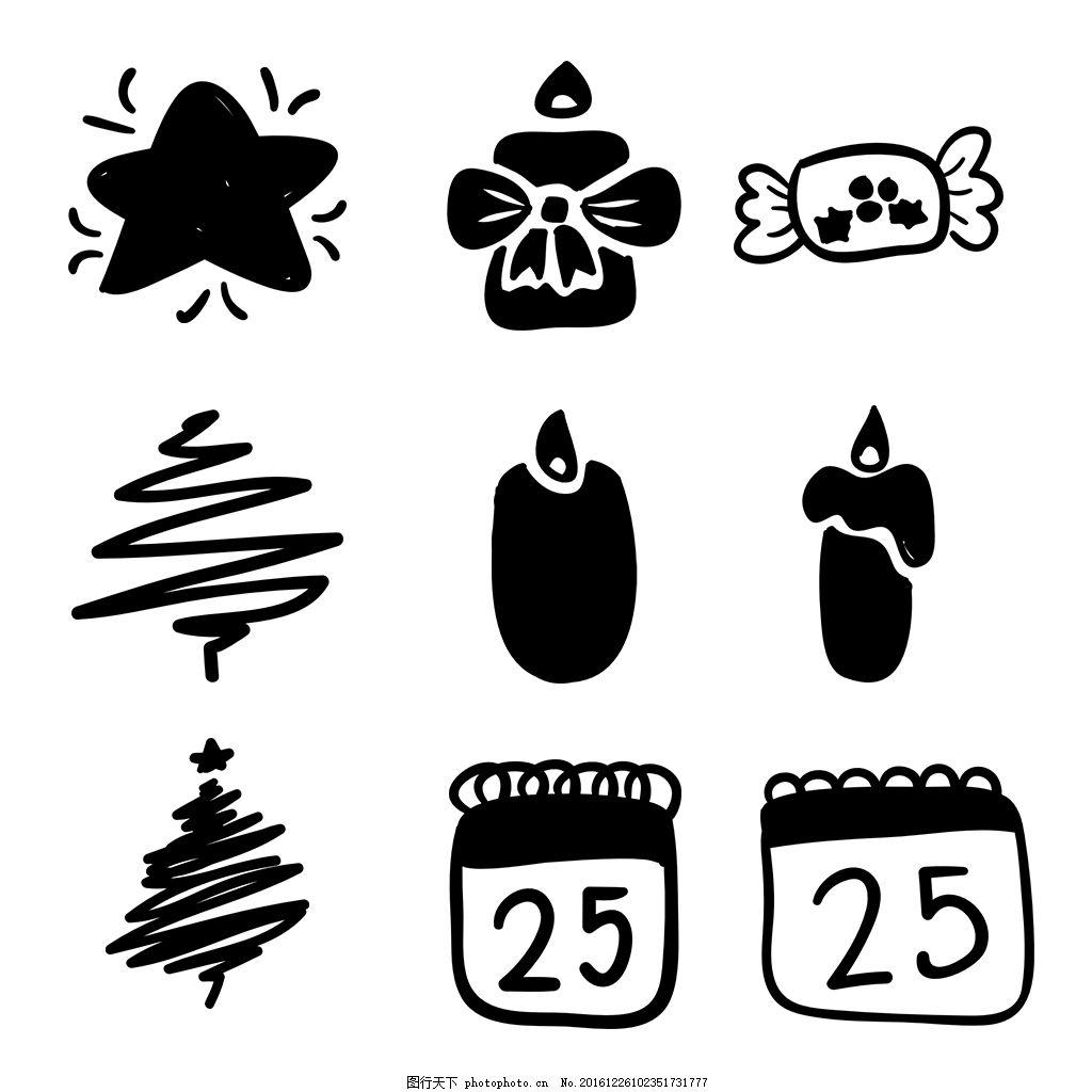 线性圣诞icon图标素材 线性 扁平 手绘 单色 多色 简约 精美 可爱