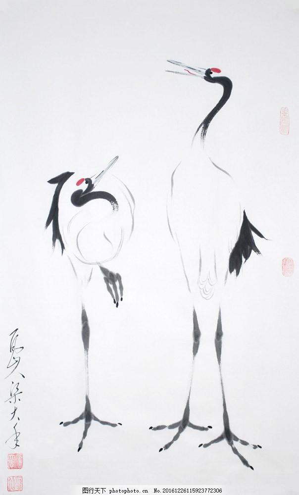水墨仙鹤绘画图片