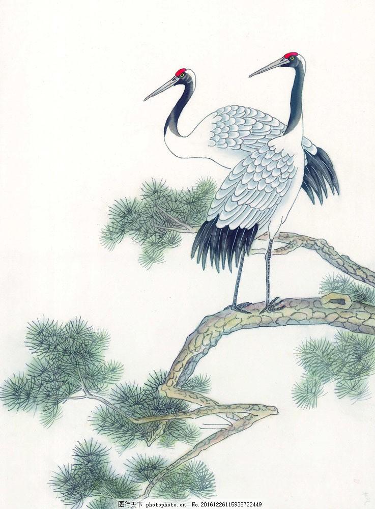 松树上的仙鹤图片素材 水彩画 水彩 画 水墨画 图案 文化 艺术 古代