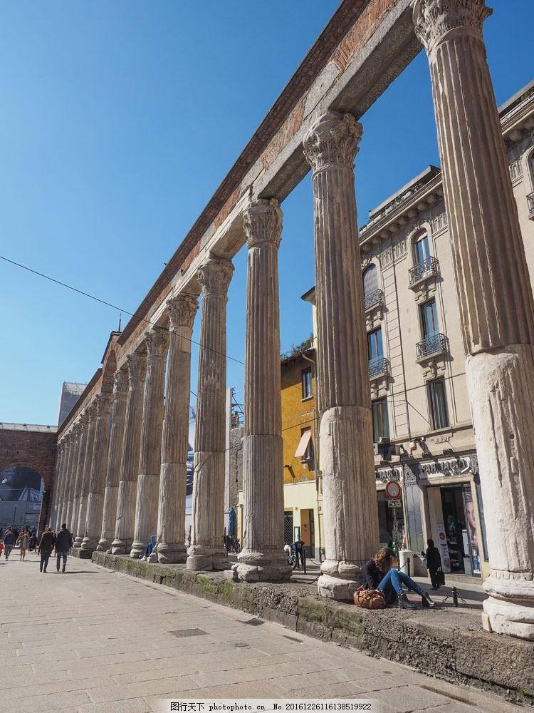 欧式罗马柱石柱建筑图片