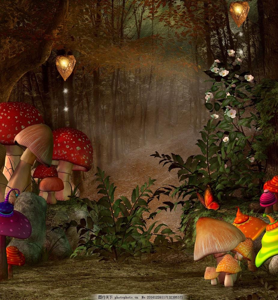 艳丽的蘑菇森林图片