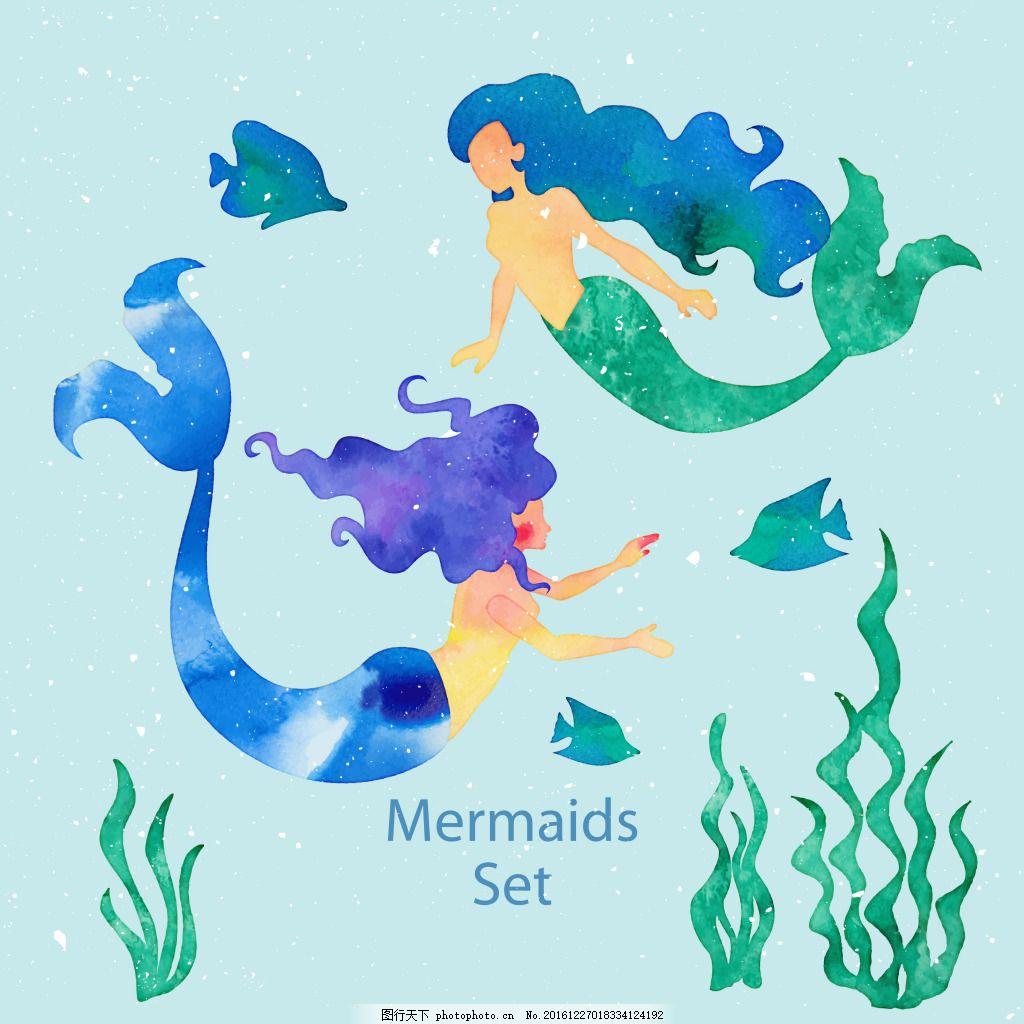 可爱的美人鱼插画 童话 可爱 海底 卡通 美人鱼
