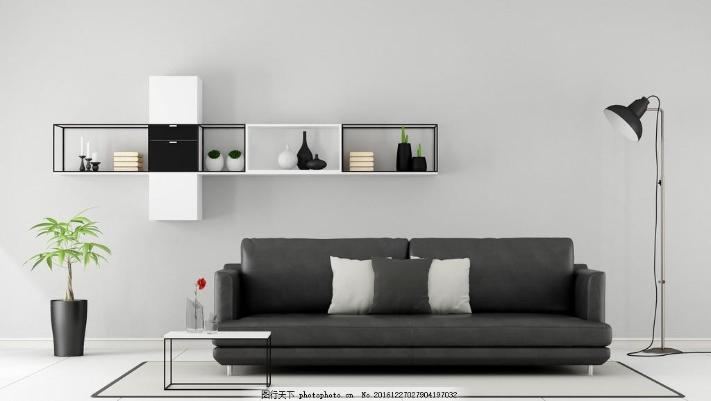 家居 家具      沙发 白色系 黑沙发 欧式客厅 简洁 简约 红地毯 灰色