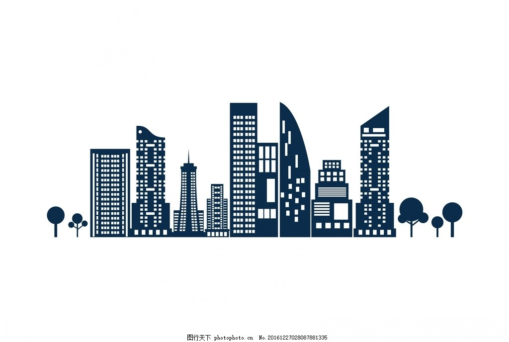 城市剪影 城市背景 高楼 建筑 卡通设计