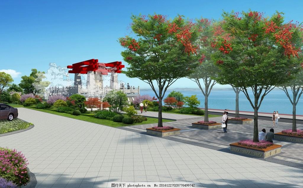 编钟台景观效果图 树阵广场 公园入口 滨江公园 红色建筑 古建