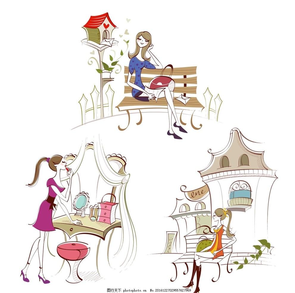 化妆女人 手绘女孩 卡通素材 可爱 手绘素材 抽象 时尚 可爱卡通