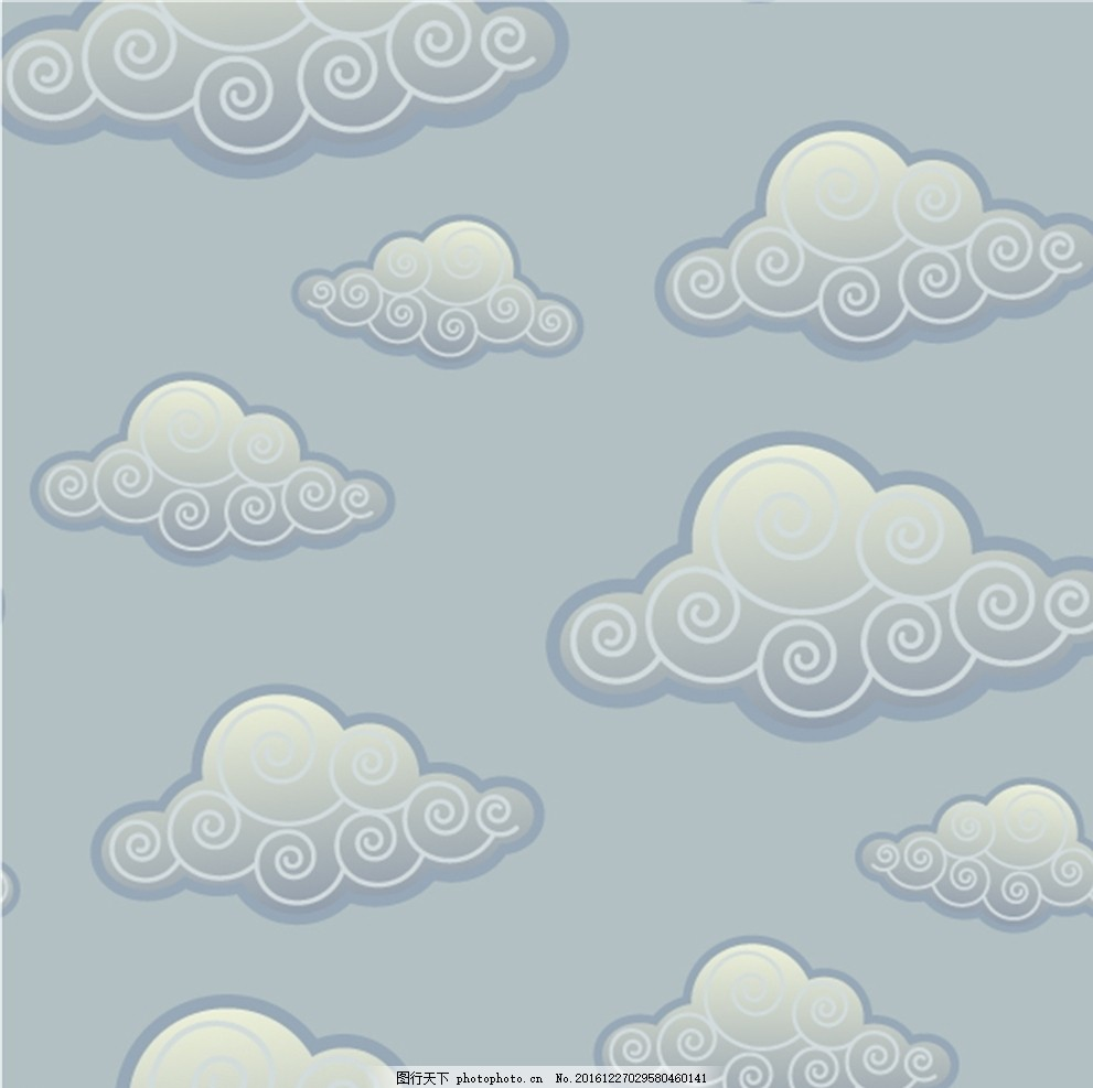 祥云 云朵 底纹 云纹矢量素材 条纹线条 古典云纹 祥云底纹 蓝色祥云