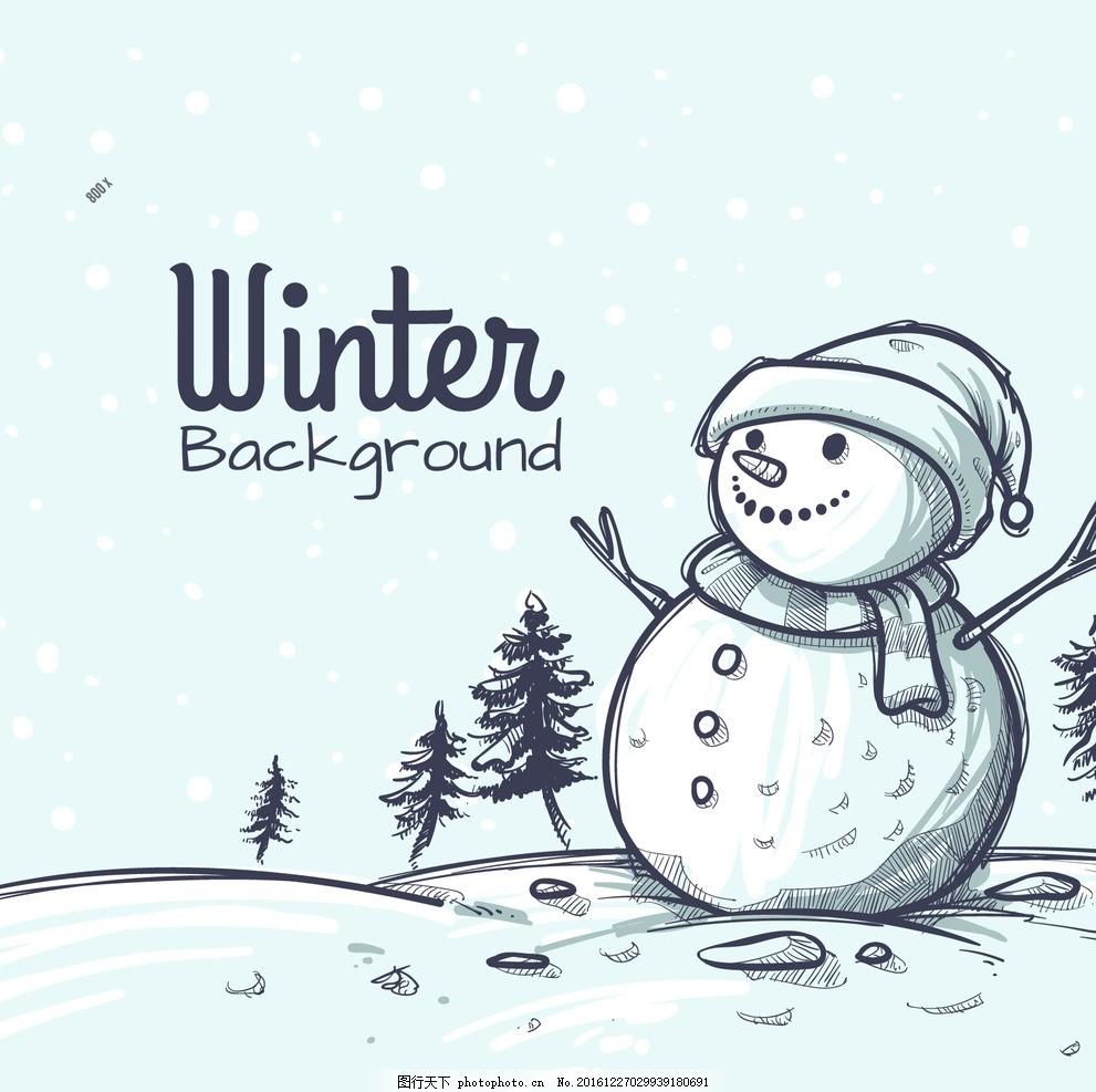 冬天手绘雪人背景 线稿 素描 蓝色 冷 围巾 帽子 时尚 过年