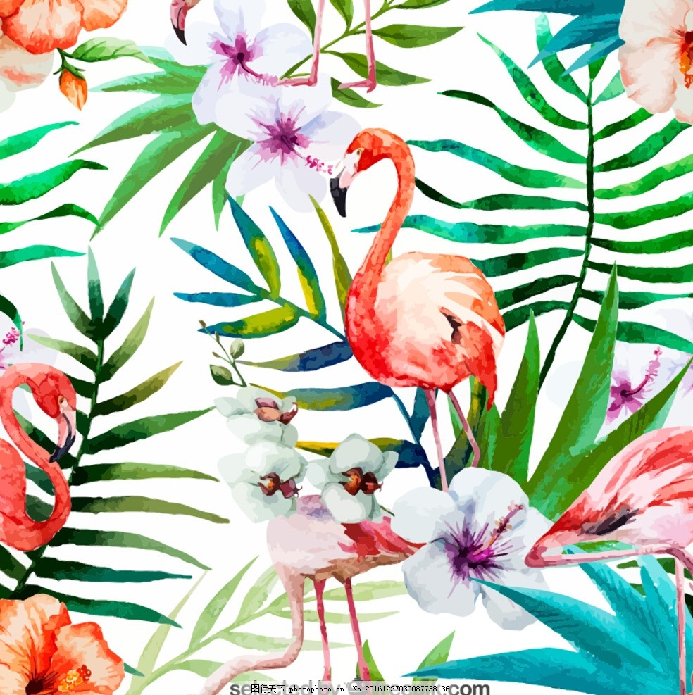 花卉 火烈鸟 手绘背景 手绘花型 印花 手绘红花 服装 服饰 服饰面料