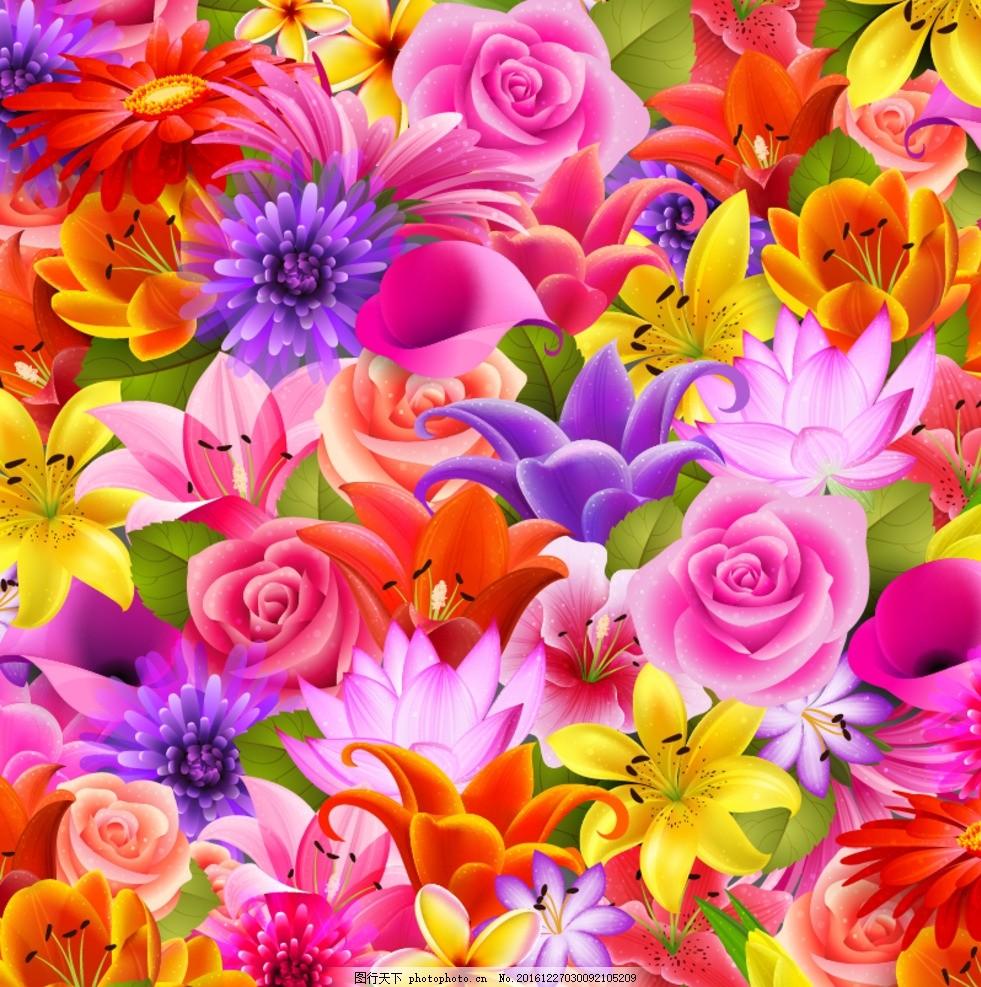 鲜花背景 花海 花树 蝴蝶 花丛 花海背景墙 矢量花 水彩花 花卉水彩画