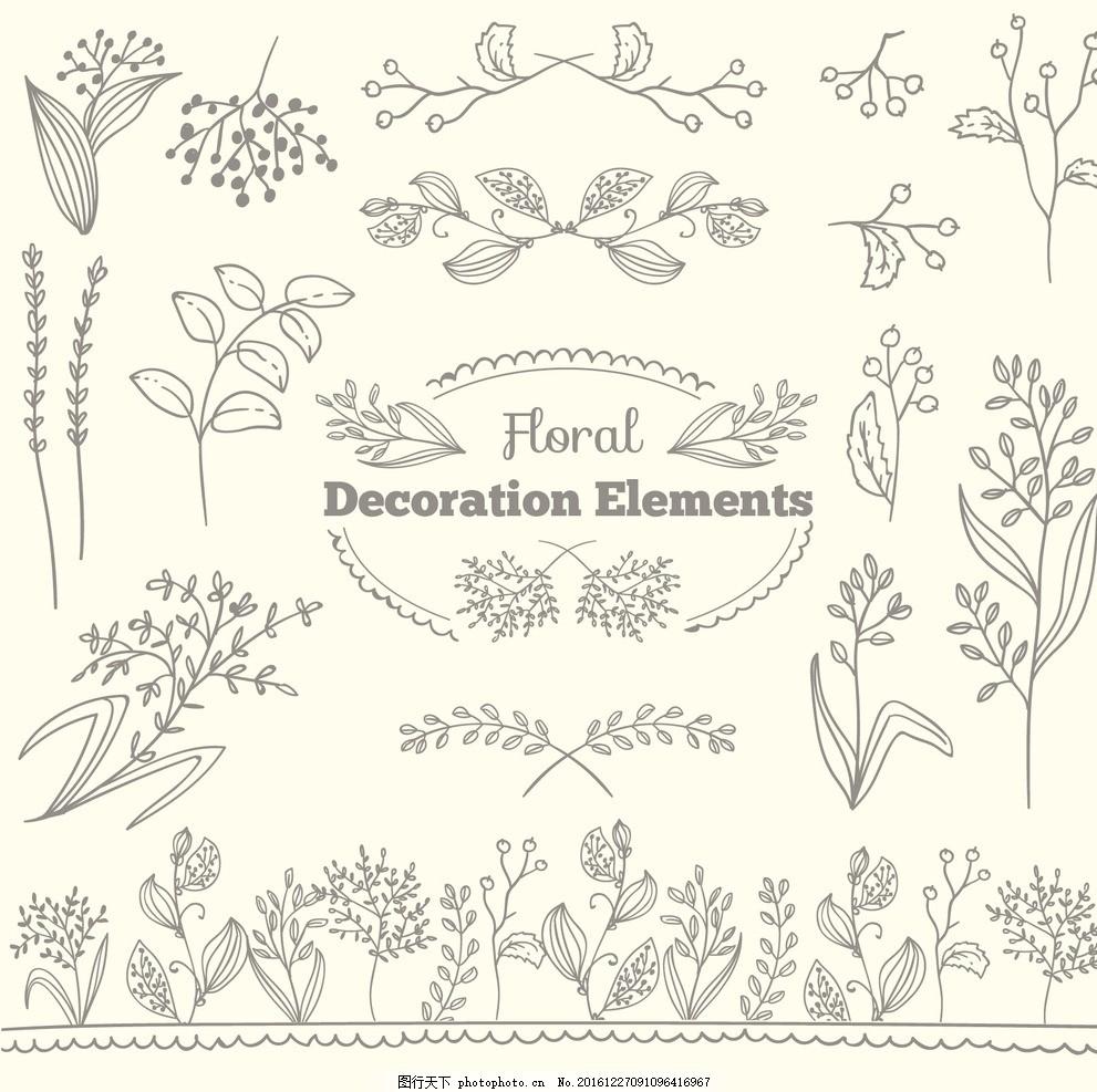 线条树叶花纹,线条花纹 矢量 手绘 笔触 黑白 背景-图