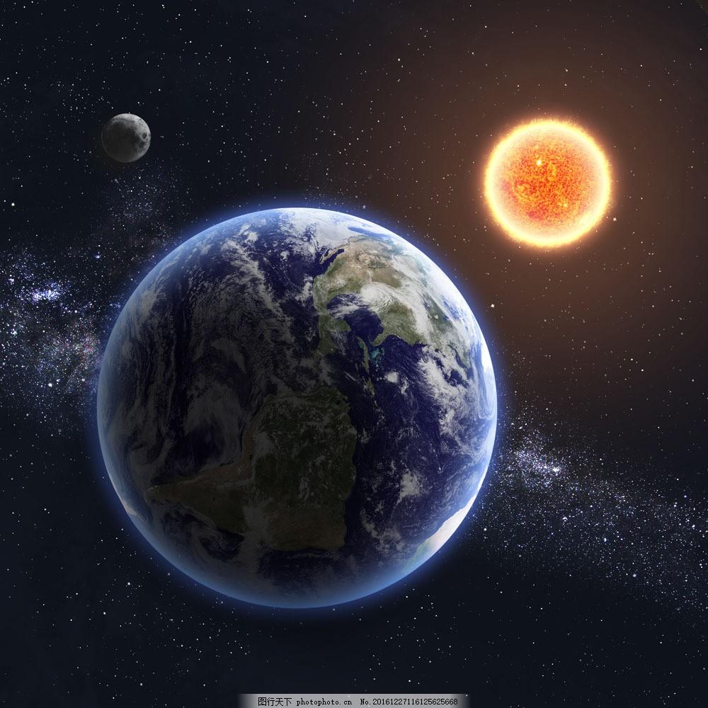 地球太阳月亮图片