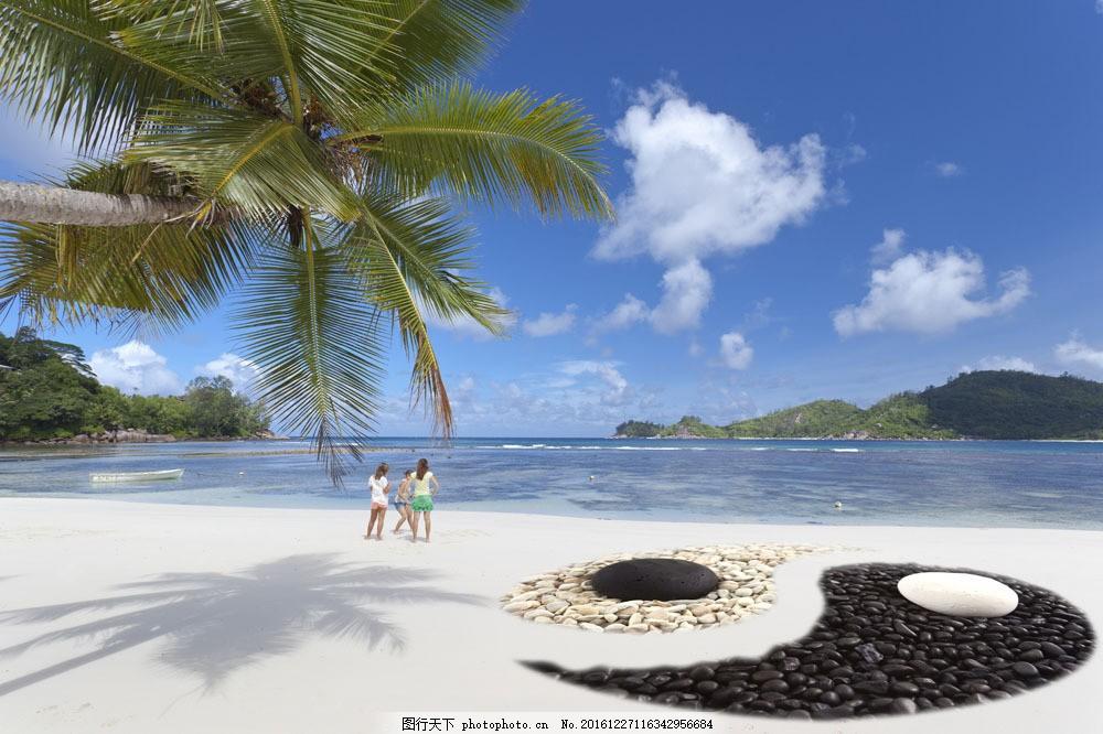 海边的太极符号图片素材 海边 度假 太极符号 石子 椰子树 大海图片