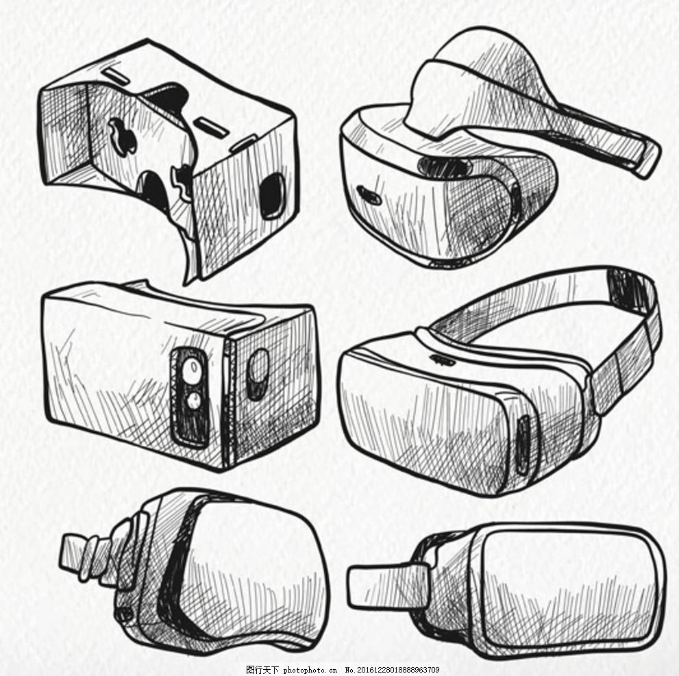 手绘素描vr虚拟现实眼镜